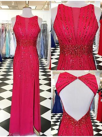 Sheath/Column Chiffon Prom Dresses Beading Scoop Neck Sleeveless Floor-Length