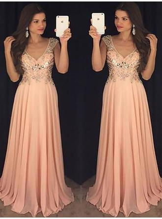 A-Line/Princess Chiffon Prom Dresses Sequins V-neck Sleeveless Floor-Length