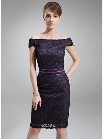 Sheath/Column Charmeuse Lace Sleeveless Off-the-Shoulder Knee-Length Zipper Up Mother of the Bride Dresses