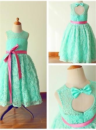 A-Line/Princess Scoop Neck Ankle-length With Sash/Bow(s) Lace Flower Girl Dresses