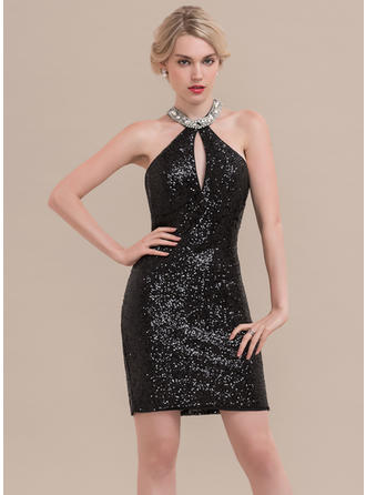 Sheath/Column Scoop Neck Short/Mini Sequined Cocktail Dress With Beading
