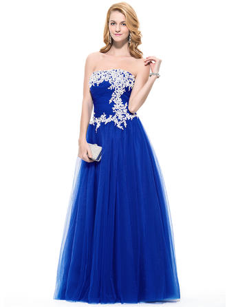 A-Line/Princess Tulle Prom Dresses Ruffle Beading Appliques Lace Sequins Strapless Sleeveless Floor-Length