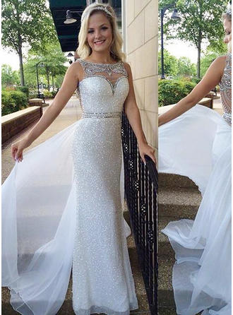 Sheath/Column Scoop Neck Sweep Train Prom Dresses With Beading Sequins