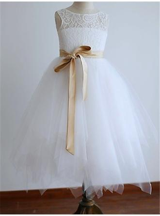 A-Line/Princess Scoop Neck Tea-length With Sash Tulle Flower Girl Dresses