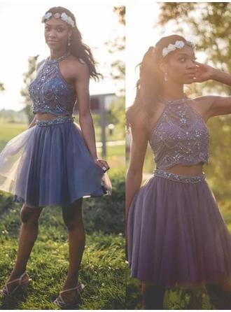 A-Line/Princess Halter Short/Mini Homecoming Dresses With Beading