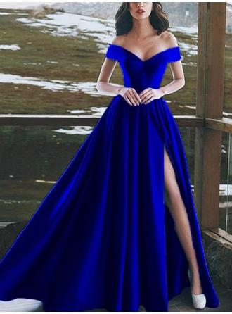 A-Line/Princess Off-the-Shoulder Floor-Length Prom Dresses With Ruffle Split Front