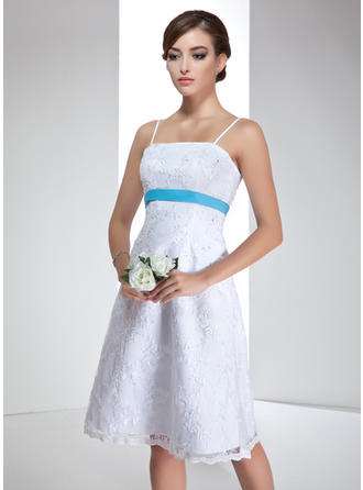 Empire Strapless Knee-Length Wedding Dresses With Sash Beading Sequins Bow(s)