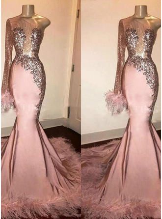 Trumpet/Mermaid One-Shoulder Sweep Train Prom Dresses With Beading Feather Appliques