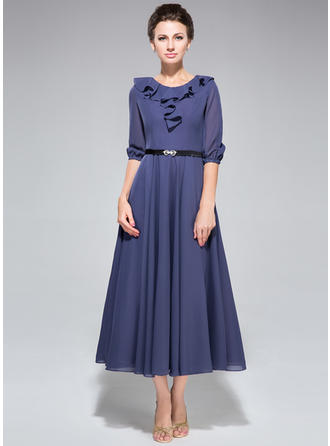 A-Line/Princess Chiffon 1/2 Sleeves Scoop Neck Tea-Length Zipper Up at Side Mother of the Bride Dresses