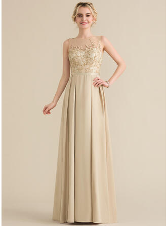 A-Line/Princess Scoop Neck Floor-Length Satin Lace Bridesmaid Dress With Bow(s)