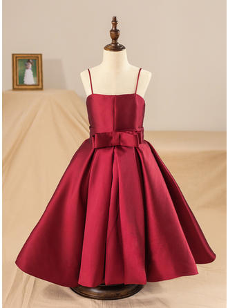 Ball Gown Straps Tea-length With Bow(s) Satin Flower Girl Dresses