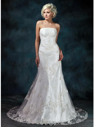 Trumpet/Mermaid Strapless Court Train Wedding Dresses With Beading Appliques