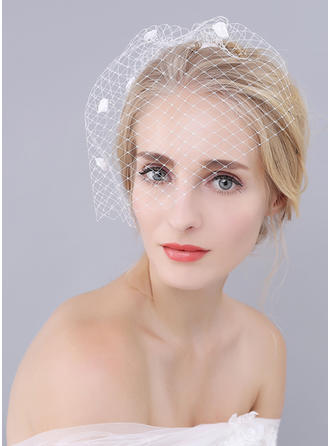 Blusher Veils Tulle One-tier With Satin Flower Ivory Wedding Veils