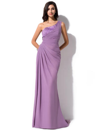 Sheath/Column One-Shoulder Sweep Train Evening Dresses With Ruffle Beading Sequins