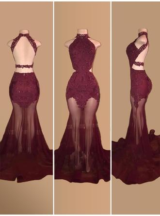 Trumpet/Mermaid High Neck Court Train Prom Dresses With Appliques Lace