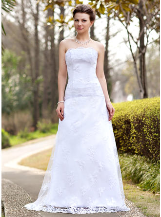 A-Line/Princess Strapless Sweep Train Wedding Dresses With Ruffle