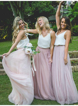 A-Line/Princess Chiffon Tulle Bridesmaid Dresses V-neck Sleeveless Floor-Length