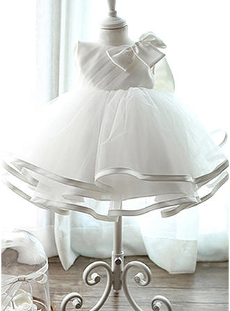 A-Line/Princess Scoop Neck Floor-length Satin Tulle Christening Gowns With Bow(s)