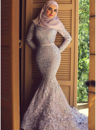 Trumpet/Mermaid Scoop Neck Sweep Train Prom Dresses With Sash Appliques Lace