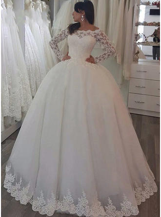 Luxurious Off-The-Shoulder Ball-Gown Wedding Dresses Sweep Train Tulle Long Sleeves
