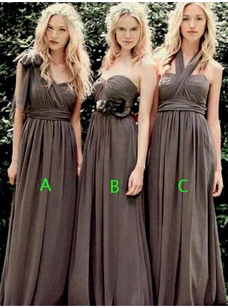 A-Line/Princess Sweetheart One-Shoulder Halter Floor-Length Bridesmaid Dresses With Ruffle