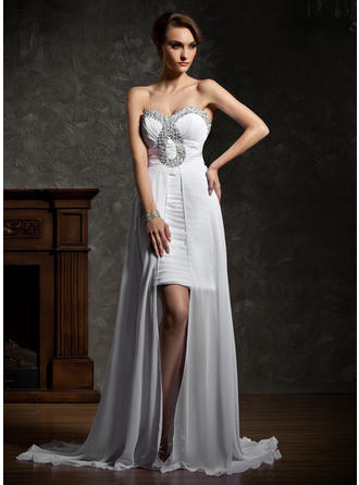 A-Line/Princess Sweetheart Asymmetrical Prom Dresses With Ruffle Beading