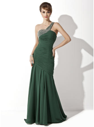 Trumpet/Mermaid Chiffon Sleeveless One-Shoulder Sweep Train Zipper Up at Side Mother of the Bride Dresses
