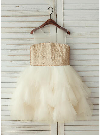 A-Line/Princess Knee-length Flower Girl Dress - Tulle/Sequined Sleeveless Scoop Neck With Sequins
