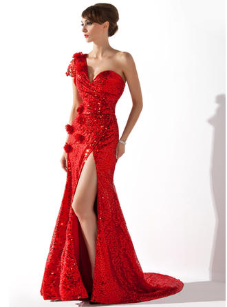 Trumpet/Mermaid One-Shoulder Court Train Evening Dresses With Ruffle Flower(s) Split Front