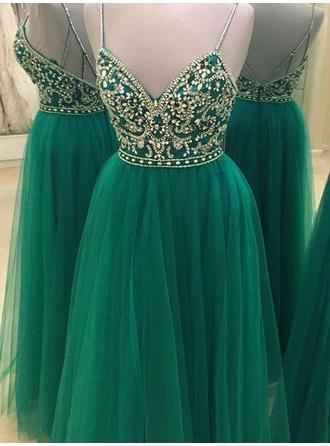 A-Line/Princess Tulle Prom Dresses Beading V-neck Sleeveless Floor-Length