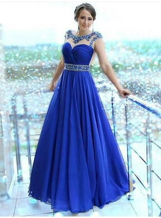 A-Line/Princess Chiffon Prom Dresses Beading Scalloped Neck Sleeveless Floor-Length