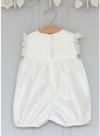 Scoop Neck Ankle-length Satin Christening Gowns With Bow(s)