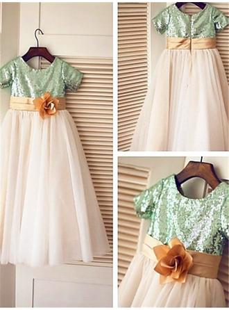 A-Line/Princess Scoop Neck Ankle-length With Flower(s) Tulle/Sequined Flower Girl Dresses