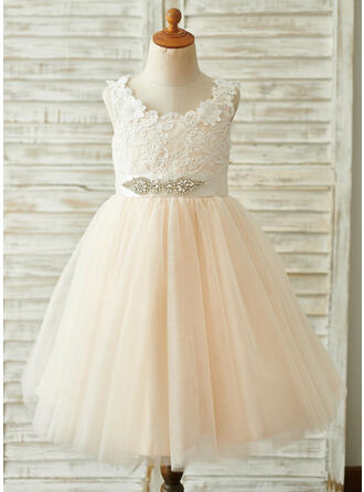 A-Line Knee-length Flower Girl Dress - Tulle/Lace Sleeveless Scoop Neck With Rhinestone/V Back
