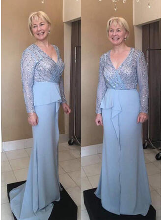A-Line/Princess Chiffon Long Sleeves V-neck Sweep Train Zipper Up Mother of the Bride Dresses