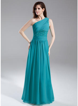 A-Line/Princess One-Shoulder Floor-Length Evening Dresses With Ruffle Beading Sequins