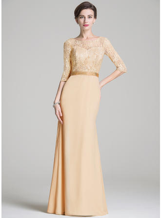 Trumpet/Mermaid Chiffon Lace 1/2 Sleeves Scoop Neck Floor-Length Zipper Up Mother of the Bride Dresses