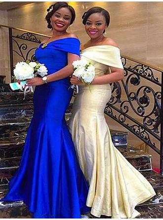 Trumpet/Mermaid Off-the-Shoulder Floor-Length Satin Bridesmaid Dresses With Ruffle