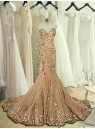 Trumpet/Mermaid Sweetheart Sweep Train Prom Dresses With Beading Appliques Lace