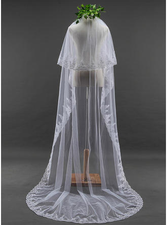 Cathedral Bridal Veils Tulle Two-tier Oval With Lace Applique Edge Wedding Veils