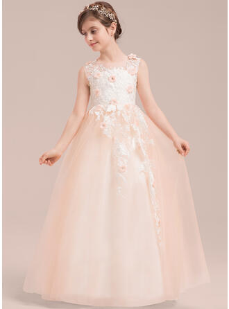 Ball Gown Floor-length Flower Girl Dress - Tulle/Lace Sleeveless Scoop Neck With Beading/Flower(s)