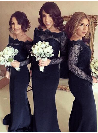 Sheath/Column Off-the-Shoulder Sweep Train Bridesmaid Dresses