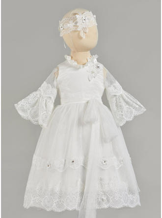 A-Line/Princess Scoop Neck Ankle-length Lace Christening Gowns With Beading