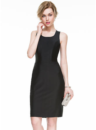 Sheath/Column Square Neckline Knee-Length Jersey Cocktail Dress With Split Front