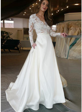 A-Line/Princess Satin Long Sleeves V-neck Sweep Train Wedding Dresses