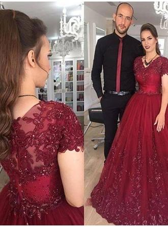 Fashion Tulle Evening Dresses Ball-Gown Sweep Train V-neck Short Sleeves