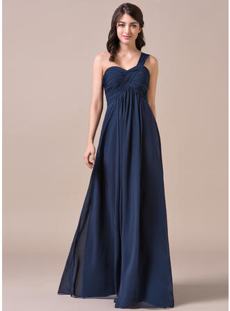 Empire One-Shoulder Floor-Length Chiffon Prom Dresses With Ruffle