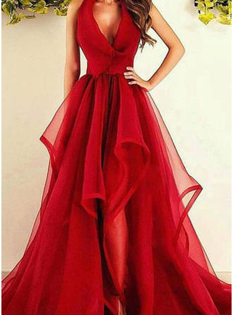 A-Line/Princess V-neck Asymmetrical Sweep Train Prom Dresses With Ruffle