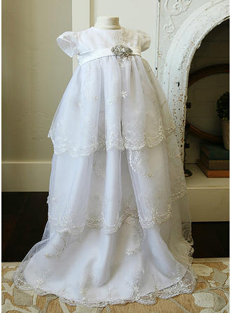 A-Line/Princess Scoop Neck Floor-length Tulle Christening Gowns With Lace Rhinestone