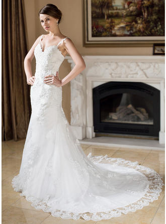Trumpet/Mermaid Sweetheart Chapel Train Wedding Dresses With Beading Appliques